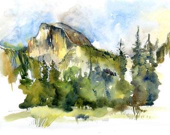 Yosemite National Park, Half Dome :print of a watercolor sketch