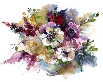 Bouquet in deep hues:  fine art print of a watercolor sketch
