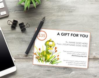 Gift Certificate - USD 35 - Digital Gift Certificate - Last Minute Gift - Printable Gift Certificate