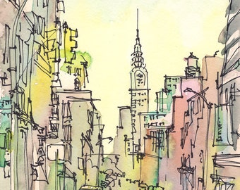 New York, New York Art, Chrysler Building, New York City, watercolor, watercolor print, New York print, sketch, urban sketch,