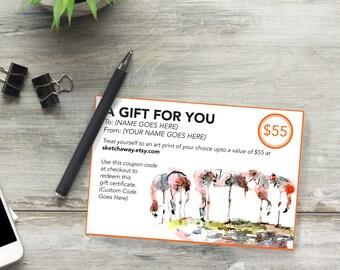 Gift Certificate - USD 55 - Digital Gift Certificate - Last Minute Gift - Printable Gift Certificate