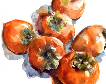 Kitchen Art, Persimmons in watercolor- print from an original watercolor sketch