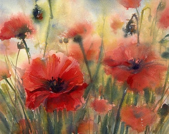 Poppies- fine art print of a watercolor sketch