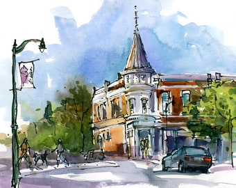 Custom Painting, Custom Sketch,  in watercolor, pen and ink