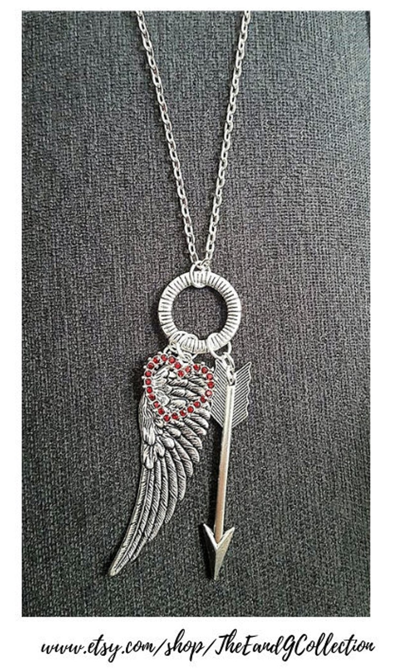 angel wing Charm necklace Mother daughter gift follow your arrow Miscarriage Memorial Arrow jewelry Guardian Angel red heart necklace