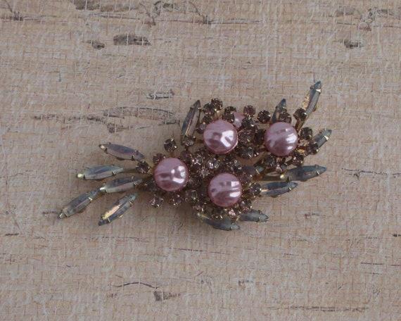 Vintage Pink Pearl Rhinestone Brooch Pearl Stones… - image 3