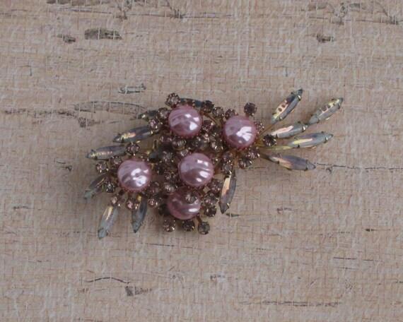 Vintage Pink Pearl Rhinestone Brooch Pearl Stones… - image 2