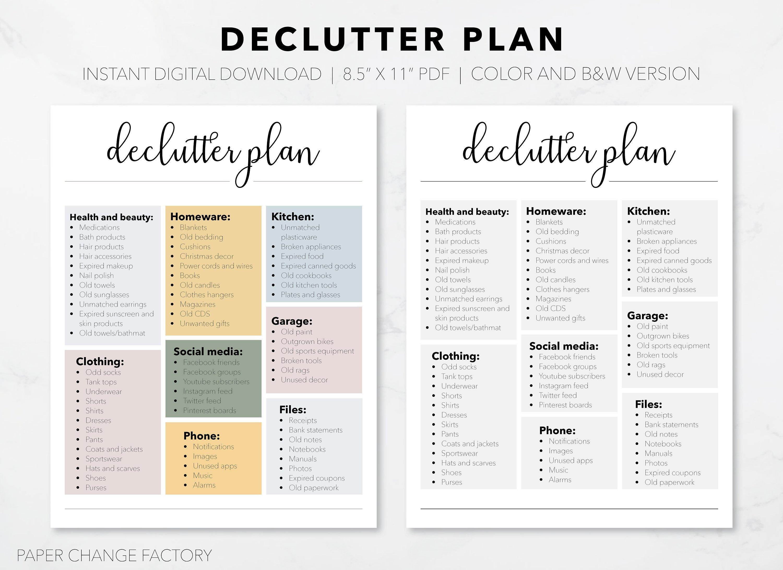 Printable Declutter Plan, Digital Download, Spring Cleaning