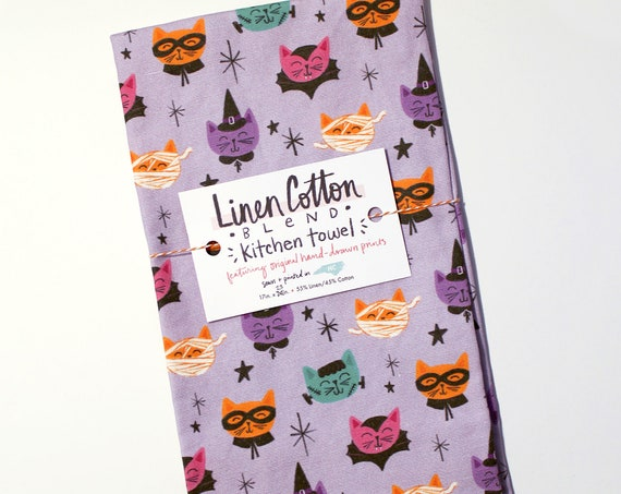 Linen/Cotton Costume Cats Halloween Kitchen Tea Towel