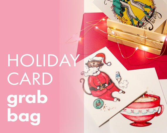 Holiday Card Grab Bag (8 Cards + Envelopes for Holiday, Christmas Mailing)