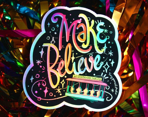 Make Believe Holographic Mr. Rogers' Neighborhood Trolley Weatherproof Vinyl Gift Rainbow Sticker