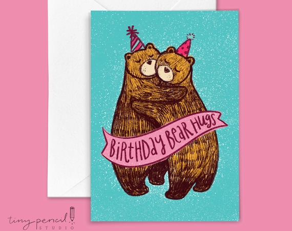 Birthday Bear Hugs Greeting Card: Hand-Lettered & Illustrated (Single Greeting Card)