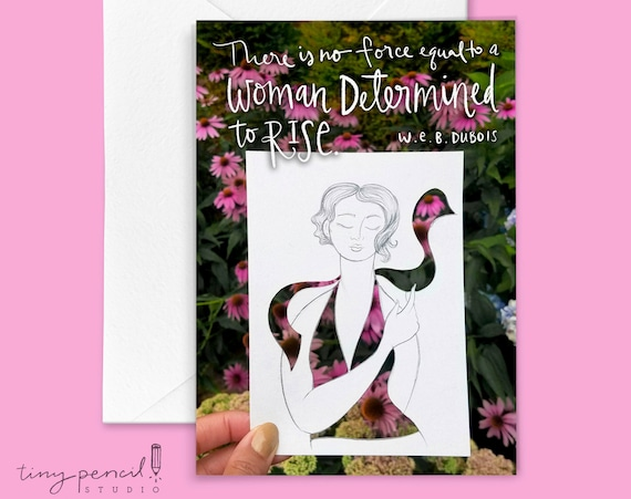 Determined to Rise Feminist Greeting Card: Hand-Lettered & Illustrated (Single Greeting Card)