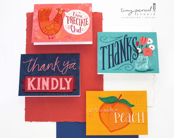 Colorful Southern Thank You Greeting Card Set of 4