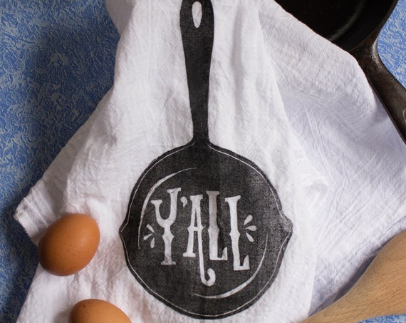 100% Cotton Y'all Flour Sack Hand/Dish Towel for Kitchen (Illustrated & Printed By Hand) (3 Color Options)