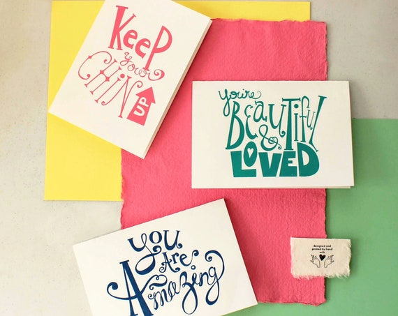 Hand-lettered and Hand-printed Encouragement Greeting Cards 3 pack