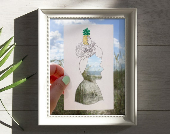 Fashion Art Print 8 x 10in. (Pineapple Queen-Summer Print)