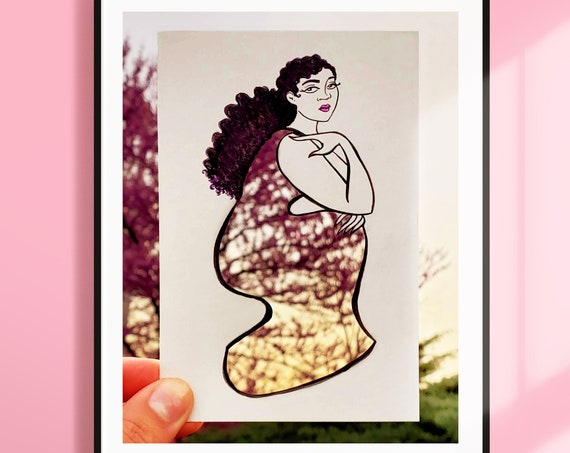 You Grow Girl Art Print 8 x 10in. (Wild Women Paper Cut Print)