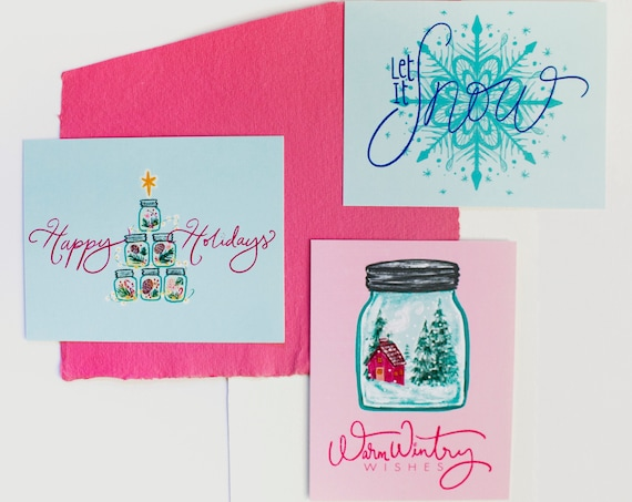 Cozy Winter Holiday Postcards SET of 6 (Original Illustrated Designs)