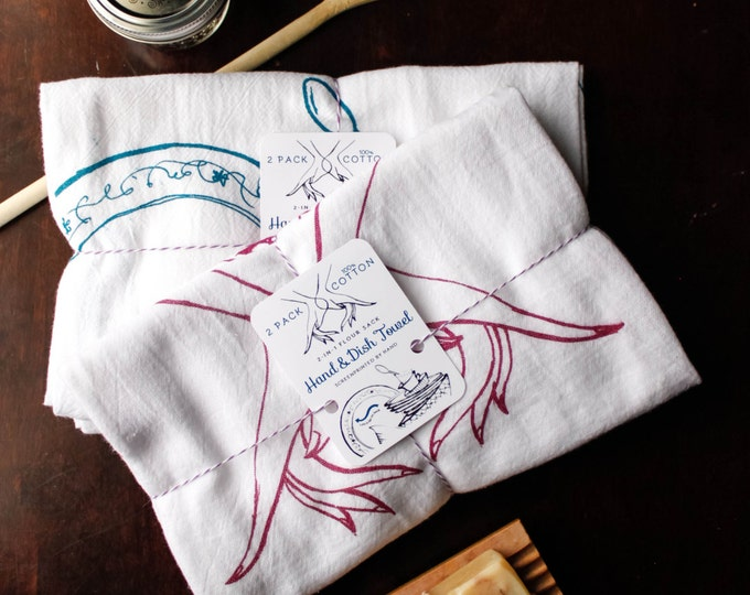 Featured listing image: 100% Cotton 2-in-1 (2 PACK) Flour Sack Hand/Dish Towel for Kitchen (Illustrated & Silkscreened By Hand)