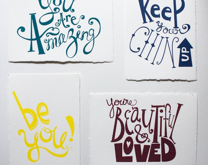 Featured listing image: Hand Screenprinted Inspirational Postcards - Set of 4