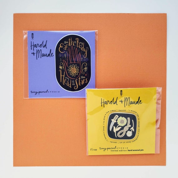 Harold Loves Maude and Maude Loves Harold Gift Set: Limited Edition Enamel Pin and Sticker (Unique Valentine's Day Gift)