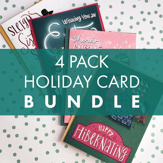 Holiday Card Bundle 4 Pack (with Free Gift Tag Stickers)