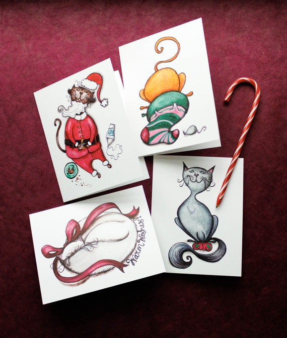 Cat Christmas Collection (Set of 4 Holiday Greeting Cards)