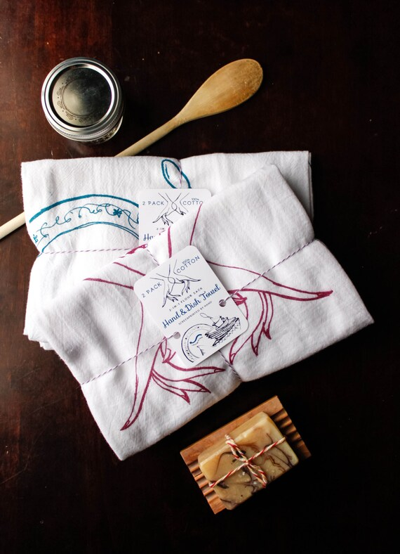 100% Cotton 2-in-1 (2 PACK) Flour Sack Hand/Dish Towel for Kitchen (Illustrated & Silkscreened By Hand)