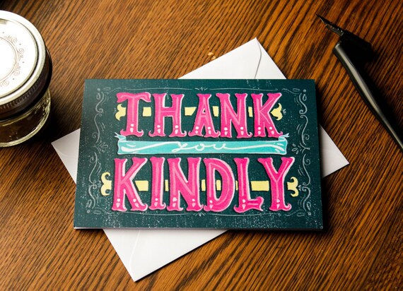 Colorful Hand Lettered Southern Hospitality Thank You Cards (Set of 4 Greeting Cards)