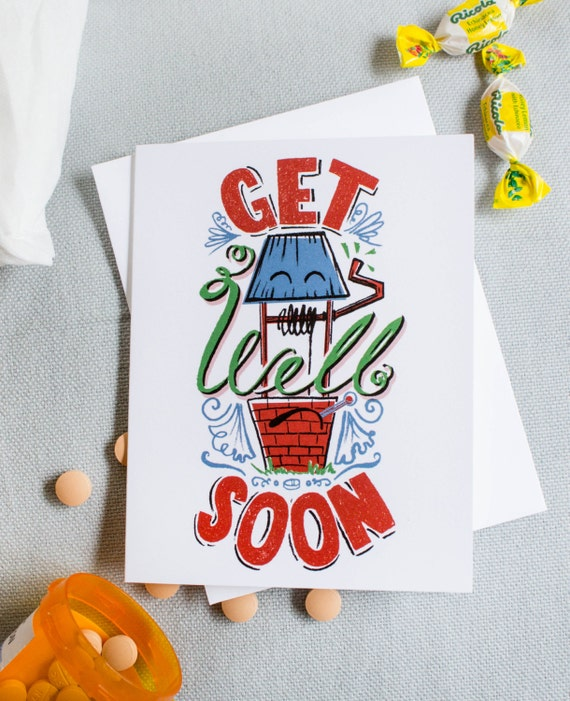 Get Well Soon Punny Card-Hand-Lettered & -Illustrated (Single Greeting Card)