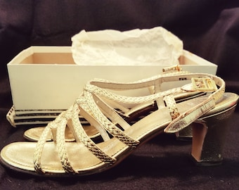 a291b435cc3d Vintage late 1960s Gold Sandals. Strappy. Heels. Womens Vintage Shoes. Size  7