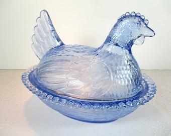 efeb9a5191c Vintage Indiana Glass Light Blue Hen On Nest - Indiana Glass - Carnival  Glass - Hen - Blue Hen On Nest - Hen On Nest - Blue Glass - Blue Hen