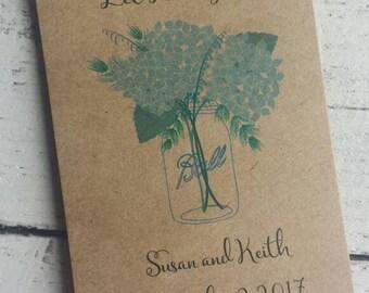 Rustic Hydrangeas in Mason Jar Design w wildflower Kraft Seed Packet Favor Shabby Chic Cute Favors for Bridal Shower Wedding or Birthday