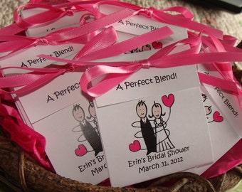 super cute bride and groom bridal shower favors wedding tea bag favors in lavender blue red purple bridal luncheon tea party favors