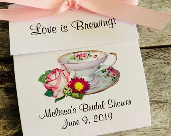 e1f0b81295b Personalized Tea Bag Party Favors Henrietta Pink White Rose Teacup perfect  for a Wedding or Bridal Shower Tea Party Favors