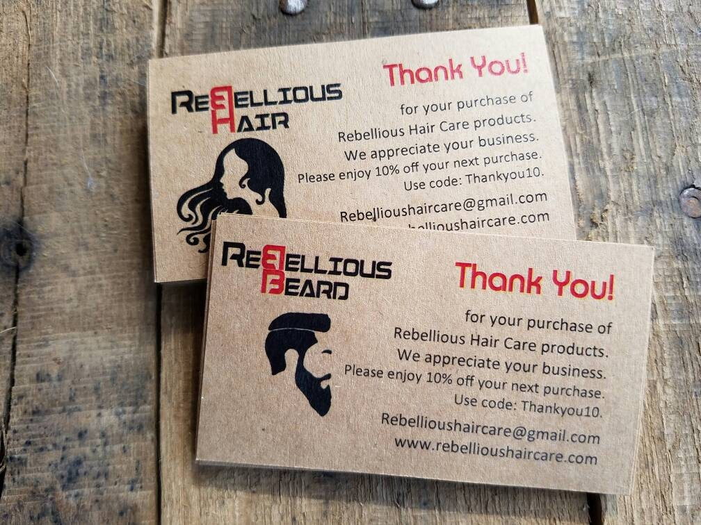 eced10ebd1b77 Custom Hair Nail Salon Beauty Salon Thank You Cards Promo Coupon Discount  Card Codes Owners business store for Business Appreciation