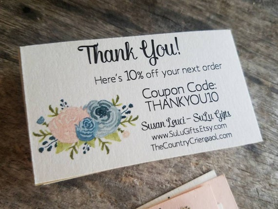 3a0f3bc28f3fa Custom Thank You for the order Cards Inserts Promo Coupon Discount Codes to  insert with orders for your Etsy Shop Owners or business store