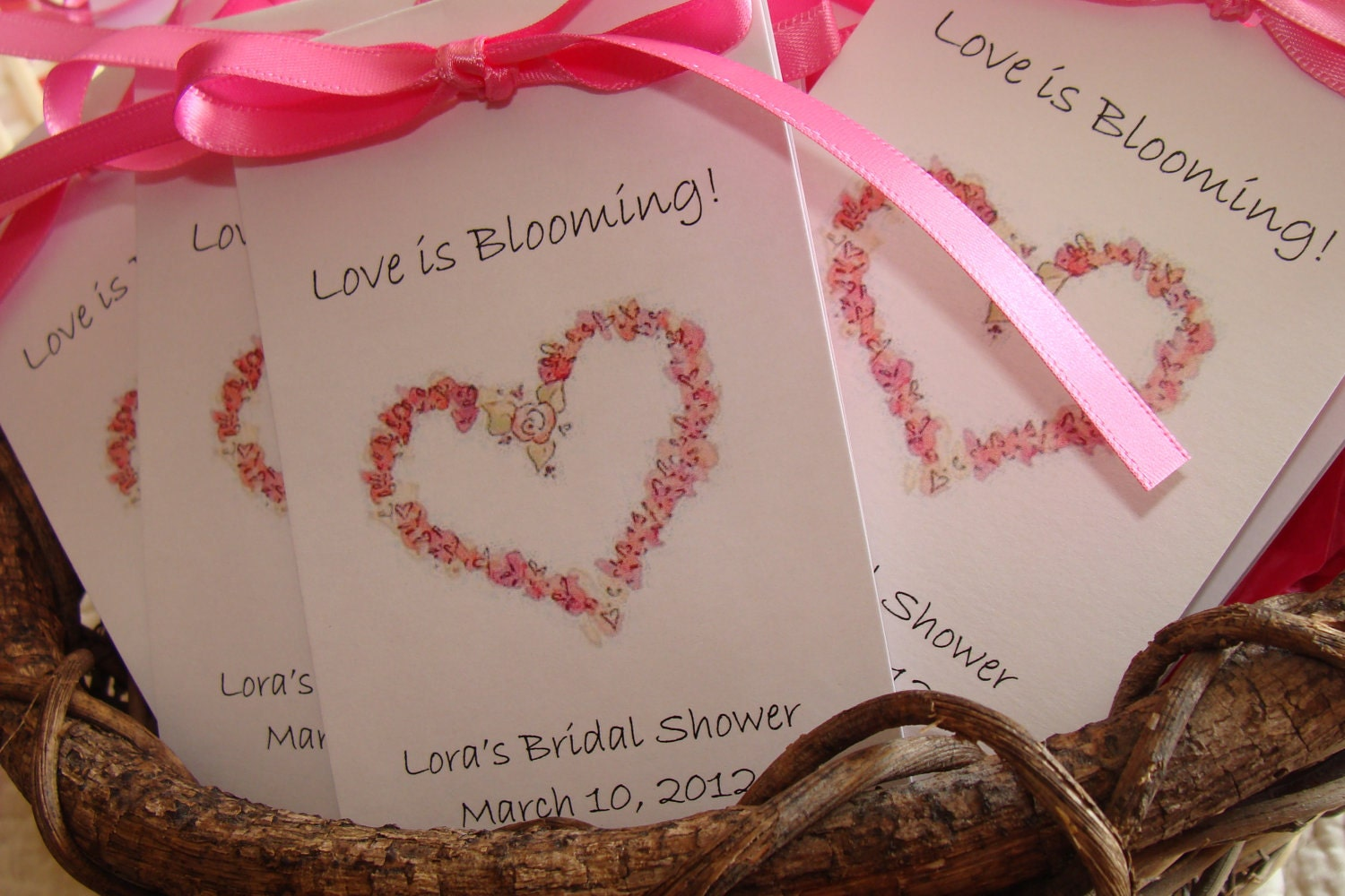 Personalized Floral Country Rose Heart Bridal Shower Wedding