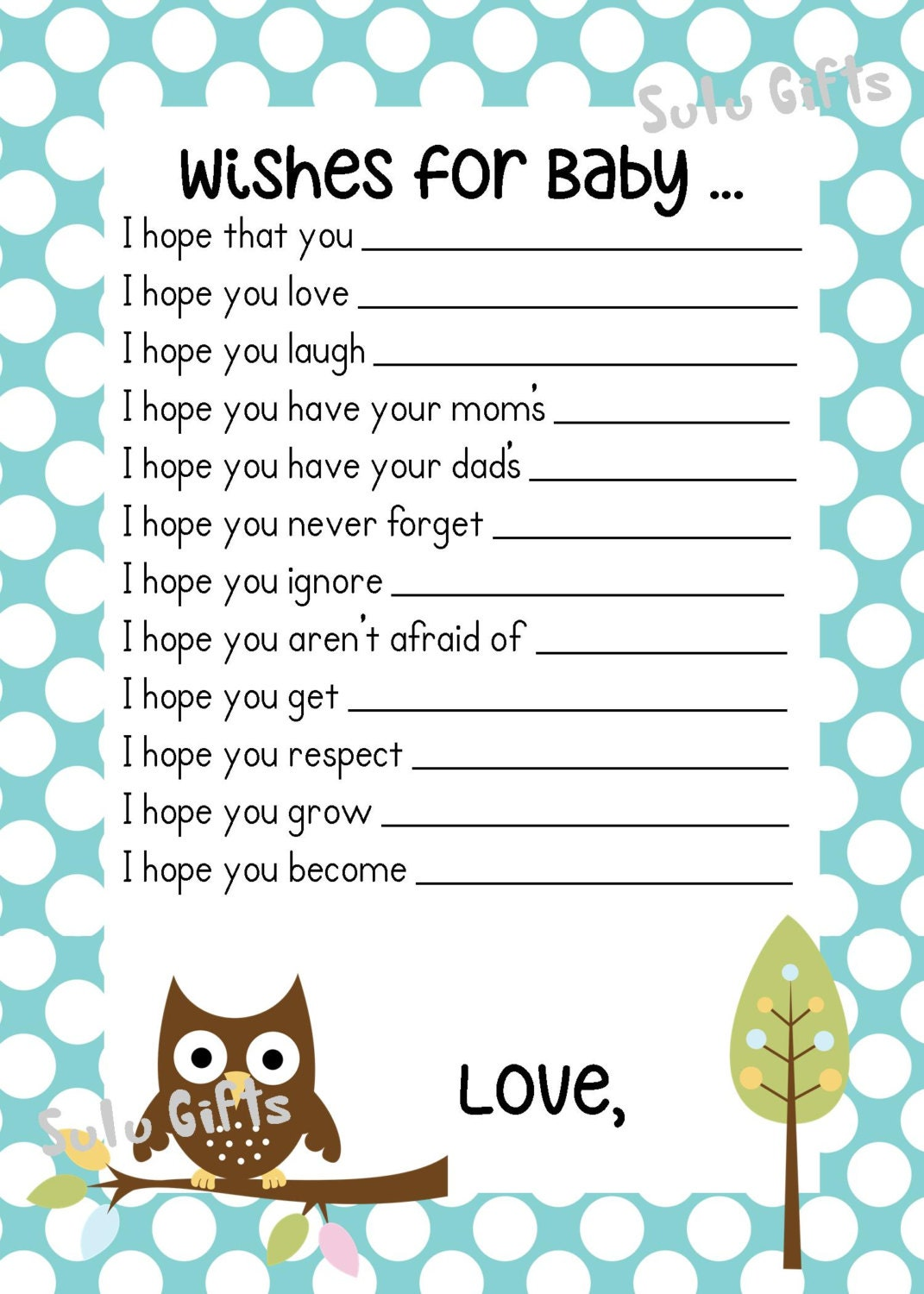 Sale Baby Boy Baby Owl Shower Game Wishes For Baby Advice Etsy