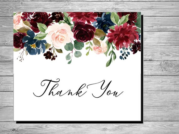 Item code: P361 Printable Watercolor Botanical Thank You Card Custom Thank You Notes PDF Letter or A4 Size Wedding Thank You Printable