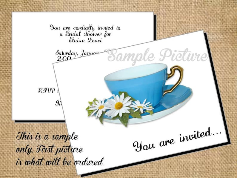 Thank You Cards Beautiful Personalized Bluer than Blue  Tea Note Cards Invitations