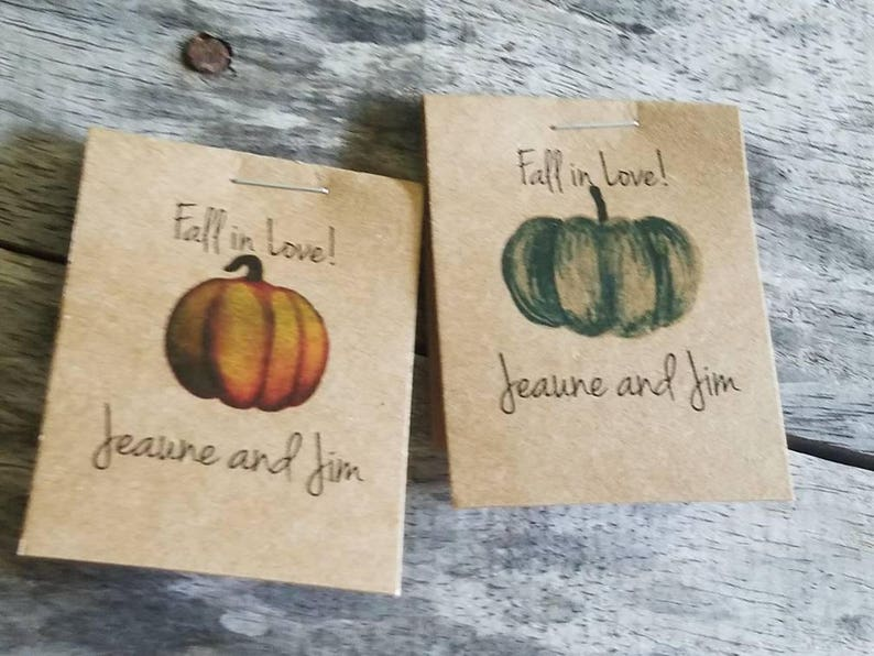 Personalized MINI Pumpkin themed Fall in Love Flower Seed Packet Wedding Favors Shabby Chic Rustic Wedding Reception Favors flower seeds
