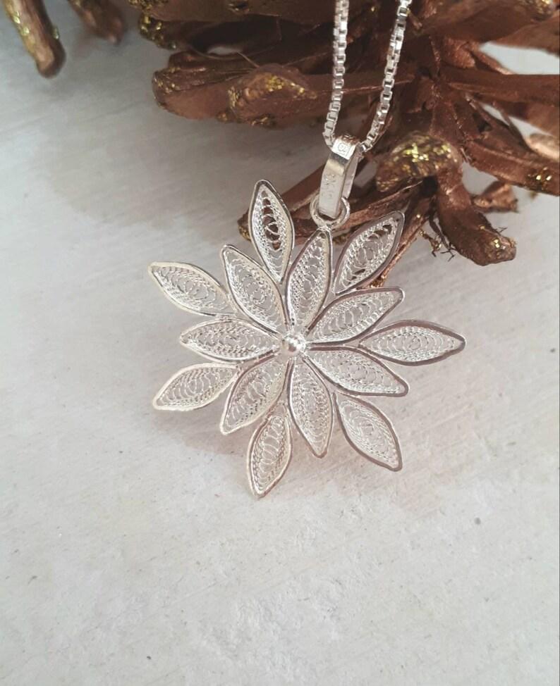 Unique Silver Filigree Snowflake Pendant Handmade in Malta Malta Gifts and Souvenirs Sterling Silver Snowflake Necklace