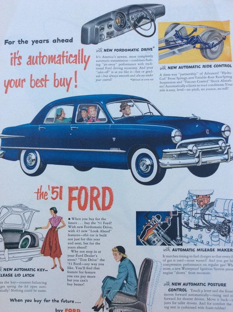 1951 Ford Ad, Car Ad, Old Paper, Vintage Ad, Automobile Ad, Retro Ad, Man  Cave Ad, Display Ad, 1950's Decor, Garage Decor, Ford, Auto Ad