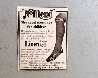 NoMend Ad, Stocking Ad,Laubach Hosiery Ad,Linen Ad,Children's Stocking,Irish Linen Ad,Clothing Ad,No Mend Stockings,Old Paper,Hosiery Ad
