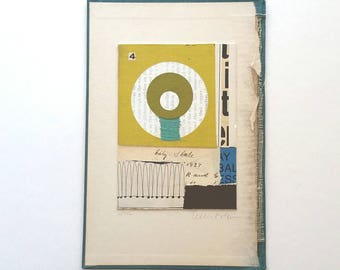 Original collage, vintage paper collage, paper and book parts collage