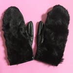 Vintage 70s Black Real Fur and PVC Mittens, Woman's Gloves