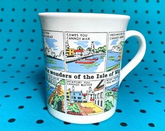 Vintage 70s 'Six Wonders of the Isle of Wight' Souvenir mug