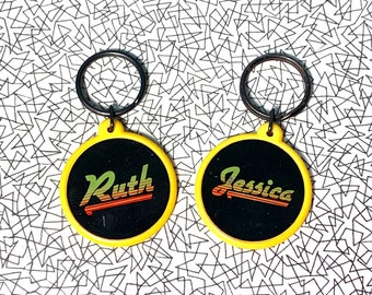 Vintage 80s name keyrings: Jessica or Ruth